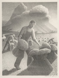 Grant Wood (American, 1891-1942) Approaching Storm Lithograph on paper 11-7/8 x 8-7/8 inches (30