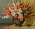 Paintings, Joseph Tomanek (American, 1889-1974). Gladiolas. Oil on canvas. 30 x 36 inches (76.2 x 91.4 cm). Signed lower left: J....
