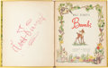 Memorabilia:Print, Walt Disney Signed Bambi Children's Book (Walt Disney, 1942). ...