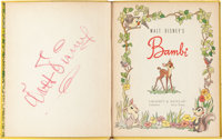 Walt Disney Signed Bambi Children's Book (Walt Disney, 1942)