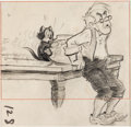 Animation Art:Concept Art, Pinocchio Geppetto and Figaro Concept Drawing (Walt Disney, 1940)....