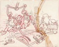 The Practical Pig Publicity Drawing by Hank Porter (Walt Disney, 1939)