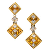 Yellow Sapphire, Diamond, Gold Earrings