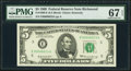 Small Size:Federal Reserve Notes, Four Digit Serial 00006623 Fr. 1969-E $5 1969 Federal Reserve Note. PMG Superb Gem Unc 67 EPQ.. ...