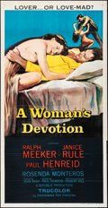 "Movie Posters:Crime, A Woman's Devotion (Republic, 1956). Folded, Very Fine. Three Sheet (41"" X 80""). Crime.. ..."