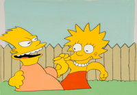 """The Tracey Ullman Show """"The Simpsons"""" Bart and Lisa Production Cel Setup with Master Background (Fox Studios..."""