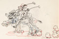 Animation Art:Production Drawing, Mickey's Polo Team Mickey Mouse and Goofy with The Big Bad Wolf Animation Drawing (Walt Disney, 1936)....