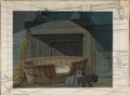 Animation Art:Painted cel background, 101 Dalmatians Painted Production Background with Key Line Test Cel Overlay (Walt Disney, 1961)....