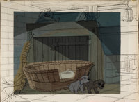 101 Dalmatians Painted Production Background with Key Line Test Cel Overlay (Walt Disney, 1961)