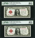 Small Size:Legal Tender Notes, Fr. 1500 $1 1928 Legal Tender Notes. Two Consecutive Examples. PMG Graded Choice Uncirculated 64 EPQ; Choice Uncirculated 63 E... (Total: 2 notes)
