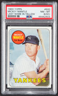Baseball Cards:Singles (1960-1969), 1969 Topps Mickey Mantle (Yellow Letters) #500 PSA NM-MT 8 (OC)....