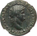 Ancients:Roman Imperial, Ancients: Nero (AD 54-68). AE sestertius (35mm, 26.22 gm, 7h). NGC AU★ 5/5 - 4/5, Fine Style....