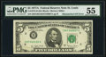 Fr. 1975-H $5 1977A Federal Reserve Note. PMG About Uncirculated 55