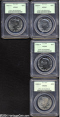 Kennedy Half Dollars: , 1985-P 50C MS66 PCGS, satiny, well struck, undisturbed, untoned;1986-P MS66 PCGS, boldly struck, nicely preserved, a hint ... (4coins)