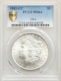 1882-CC $1 GSA MS64 PCGS. PCGS Population: (13165/7359 and 558/435+). NGC Census: (6464/3492 and 151/92+). CDN: $225 Whs...