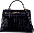 "Luxury Accessories:Bags, Hermès 32cm Shiny Black Alligator Sellier Kelly Bag with Gold Hardware. F Square, 2002. Condition: 3. 12.5"" Width ..."