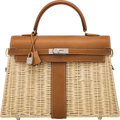 Luxury Accessories:Bags, Hermès Limited Edition 35cm Fauve Barenia Leather & Osier Wicker Kelly Picnic Bag with Palladium Hardware. C, 2018. Co...