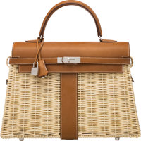 Hermès Limited Edition 35cm Fauve Barenia Leather & Osier Wicker Kelly Picnic Bag with Palladium Hardware...