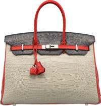 Hermès Special Order Horseshoe 35cm Matte Craie, Rouge Tomate & Gris Paris Alligator Birkin Bag with Brushed...