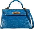 "Luxury Accessories:Bags, Hermès 20cm Blue Zellige Alligator Mini Kelly II Bag with Gold Hardware. D, 2019. Condition: 1. 7.5"" Width x 5"" He..."