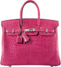 """Luxury Accessories:Bags, Hermès 25cm Shiny Fuchsia Alligator Birkin Bag and Twilly Scarves. Condition: 2. 10"""" Width x 7"""" Height x 5"""" Depth. ... (Total: 3 )"""