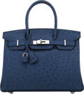 "Luxury Accessories:Bags, Hermès 30cm Blue Iris Ostrich Birkin Bag with Palladium Hardware. X, 2016. Condition: 2. 11.5"" Width x 8"" Height x 6"" Dept..."