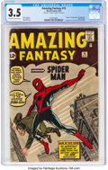 Amazing Fantasy #15 - Signed by Stan Lee (Marvel, 1962) CGC VG- 3.5 Off-white to white pages