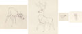 Animation Art:Production Drawing, Bambi Animation Drawings Framed Disp...