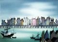 Animation Art:Painted cel background, Eyvind Earle The Truth About Mother Goose London Bridge Production Cels and Key Master Background (Walt Disney, 19...