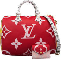 Louis Vuitton Set of Two: Limited Edition Pink & Red Giant Monogram Speedy 30 & Zoe Wallet Condition: 1...