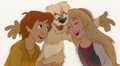 Animation Art:Production Cel, The Black Cauldron Taran Gurgi and Eilonwy Production Cel (Walt Disney, 1985)....