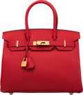 "Luxury Accessories:Bags, Hermès 30cm Rouge Casaque Epsom Leather Birkin Bag with Gold Hardware. X, 2016. Condition: 1. 11.5"" Width x 8"" Hei..."