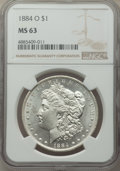 1884-O $1 MS63 NGC. This lot will also include a: 1885 $1 MS63 NGC