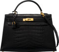 """Luxury Accessories:Bags, Hermès 32cm Black Alligator Sellier Kelly Bag with Gold Hardware. V Circle, 1992. Condition: 3. 12.5"""" Width x 9"""" H..."""