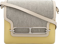 Hermès 23cm Jaune Poussin Evercolor Leather & Toile Roulis Bag with Palladium Hardware X, 2016 Co