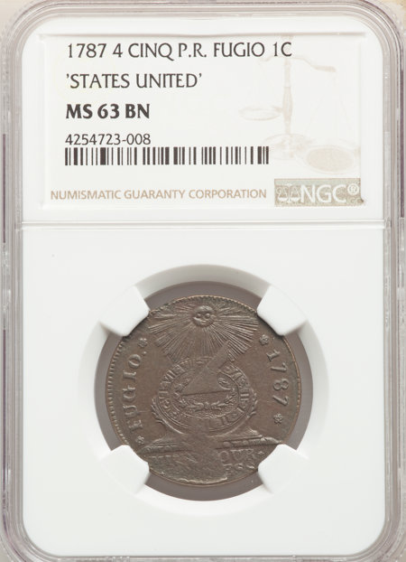 1787 Fugio Cent, STATES UNITED, 4 Cinquefoils, Pointed Rays, MS, BN 63 NGC