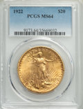 1922 $20 MS64 PCGS. PCGS Population: (9918/1580). NGC Census: (8834/527). MS64. Mintage 1,375,500