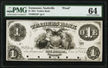 Nashville, TN- Traders Bank of Tennessee $1 Oct. 1, 1855 G2 Schafluetzel-Carson N-B.Tra-1-1Pf PMG Choice Uncirculated 64...