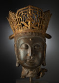 Sculpture, A Large Chinese Cast-Iron Head of Buddha Vairocana, Yuan Dynasty-Ming Dynasty . 21-1/4 x 15-1/2 inches (54.0 x 39.4 cm) (exc... (Total: 2 Items)