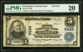 National Bank Notes:Pennsylvania, Meshoppen, PA - $5 1902 Plain Back Fr. 607 The First National Bank Ch. # 5429 PMG Very Fine 20.. ...