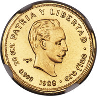 "Cuba: Republic 5-Piece Certified gold ""Jose Marti"" Set 1988 NGC, ... (Total: 5 coins)"