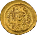 Ancients:Byzantine, Ancients: Maurice Tiberius (AD 582-602). AV solidus (23mm, 7h). NGC MS....