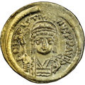Ancients:Byzantine, Ancients: Justin II (AD 565-578). AV solidus (20mm, 4.41 gm, 6h). NGC Choice AU 4/5 - 3/5, scratches....