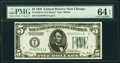 Fr. 1950-G $5 1928 Federal Reserve Note. PMG Choice Uncirculated 64 EPQ