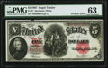 """Large Size:Legal Tender Notes, Fr. 91 $5 1907 """"PCBLIC"""" Error Legal Tender PMG Choice Uncirculated 63.. ..."""