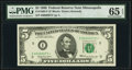 Low Serial Number 73 Fr. 1969-I* $5 1969 Federal Reserve Star Note. PMG Gem Uncirculated 65 EPQ