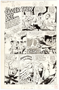"""Sid Greene """"The bigger they are..."""" Unpublished Complete 1-Page Story Original Art (DC, 1967)"""