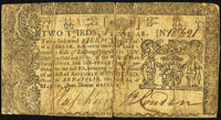 Maryland January 1, 1767 $2/3 Very Good-Fine