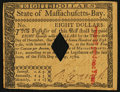 Colonial Notes:Massachusetts, Massachusetts May 5, 1780 $8 Diamond Cancel About New.. ...