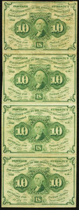 Fractional Currency:First Issue, Fr. 1242 10¢ First Issue Uncut Vertical Strip of Four Very Fine.. ...